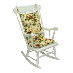 None - Jewel Floral Standard Rocking Chair Cushion - You will simply sink into this comfortable rocking chair cushion with its 100 percent cotton exterior and tufted polyester fiberfill interior. It features a soft, delightful floral pattern that sweeps along both sides of the cushion.