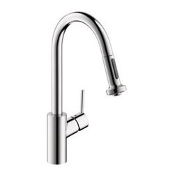 Hansgrohe - Hansgrohe - Talis S 2 Kitchen Faucet LowFlow - 04310001 - Chrome - In homes today, theres a place undergoing a radical transformation of uncompromising style-- the kitchen. This is the second most occupied place in modern dwellings. Hangrohes Talis S Prep kitchen faucet offers remarkable functionality with individual personality and style. Innovative features such as the M2 velvety smooth ceramic cartridge valve, the quiet, nylon pull-out hose and the ergonomic, two-function spray head make this the top choice in faucets. The modern design of the Talis S Prep kitchen faucet coordinates flawlessly with any kitchen decor. The Talis S Preps solid brass construction is finished with a smooth chrome Finish. The improved handle design prevents interference with the backsplash while the faucets high spout and pull-down spray are perfect for cleaning large cookware, preparing food and cleaning.