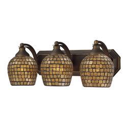 Elk Lighting - Vanity 3-Light Bathbar in Aged Bronze and Gold Mosaic Glass - Vanity 3-light bathbar in aged bronze and gold mosaic glass