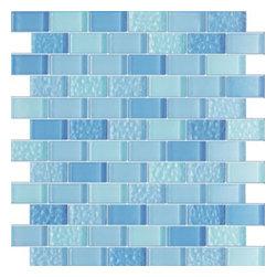Vintrav Steel Blue 1 in. x 2 in. Glass Mosaic Tiles, Sheet - Vintrav Steel Blue 1 in. x 2 in. Glass Mosaic Tiles for Bathroom Floor, Kitchen Backsplash, unmatched quality.