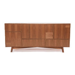 Seed Furniture - The Goldwyn Media Console - Our Goldwyn Media Cabinet Third Configuration, Opening Right) offers an elegant solution to the oh-so modern problem of household media clutter. Guided by the George Nelson edict of simplicity, we offer a unified and orderly home for the full range of your entertainment and media devices and materials. Our media hub (a self-contained power and USB port) enables you to plug all of your devices into one concealed spot while just a single cord escapes neatly from the back. The top of the cabinet opens to reveal our secret turntable dock, which is perfect for housing (and charging) a computer and/or IPhone out of sight while the surface of your cabinet remains clutter-free. Subtle yet high tech, this piece is made with the highest craftsmanship and touch-release hardware.