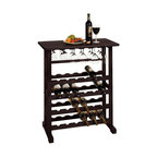 Winsome Wood - Vinny 24-Bottle w Glass Hanger Wine Rack in D - Holds 8 long stem wine glasses . Bottle capacity: 24 bottles. Constructed from solid wood. Assembly required. 31.5 in. W x 16.22 in. D x 35.67 in. H