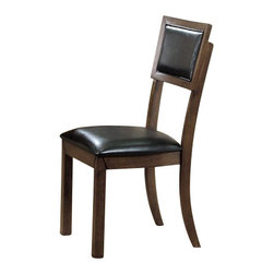 Monarch Specialties - Monarch Specialties Side Chair in Dark Acacia (Set of 2) - These stylish side chairs compliment the look of the dining table with generously padded cushioning and a matching stain finish. Built for comfort, these black bonded leather seats undeniably add to the appeal and character of the dining set. What's included: Side Chair (2).