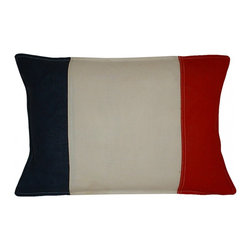 Nautical Signal Flag Pillow - This cotton pillow is emblazoned with an original vintage nautical signal flag. The small accent pillow is approximately 10 inches high by 14 inches wide. The feather insert flattens down with use and fluffs right back up for an overstuffed look and feel.