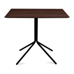 Bryght - Curt Walnut Veneer Dining Table - An urban linear layout, the Curt table with its sleek metal base creates a focal point that is stylish yet functional. Perfect for a breakfast nook or as a kitchen table.