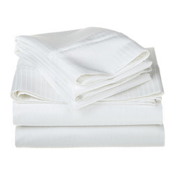 1000 Thread Count Egyptian Cotton Cal. King White Stripe Sheet Set - 1000 Thread Count Egyptian Cotton oversized California King White Stripe Sheet Set