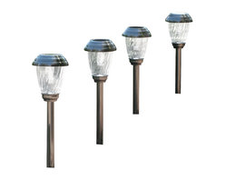 Smart Solar - Charleston Solar Pathway Lights - Heritage Pewter Finish - Set of 6 - Set of 6 decorative solar lights ideal for pathways, driveways and gardens. Stainless steel, with an electroplated pewter finish and real glass shade. On/Off switch to control light. Automatically illuminates at dusk and turns off at dawn. Powered by integral solar panels. Energy saving white LED in each light. Up to 8 hours of light each night when fully charged. Replaceable, rechargeable Ni-MH battery. No wiring, simply install and enjoy. No operating costs.