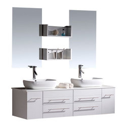 Virtu USA - 59in. Augustine - White - Double Sink Bathroom Vanity - The Augustine vanity offers a contemporary style that is light and airy. This top seller has been utilized in many hotel designs and featured in the DIY Nework's TV Series, Bath Crashers. Available in Espresso or White finish, the vanity can be utilized with any color schemes. The abundant storage space is a primary attraction to all modern seekers. Cleaning is a breeze due to durability and maintenance-free characteristics of the white artificial stone. With designer basins, mirrors, shelves, and lifetime warranty faucets included as a complete set, the Augustine outshines all others in its class.