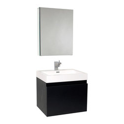 "Fresca - Fresca Nano Black Vanity w/ Medicine Cabinet - Dimensions of vanity:  23.38""W x 18.75""D x 21.25""H. Dimensions of medicine cabinet:  19.5""W x 26""H x 5""D. Materials:  MDF with acrylic countertop/sink with overflow. Nested drawer storage system (Soft closing drawers). Single hole faucet mount. P-trap, faucet, pop-up drain and installation hardware included. This vanity is striking in its simplicity.  Don't forget to check under the hood with the innovative storage system from Blum that includes a nested drawer.  Perfect for smaller bathrooms."
