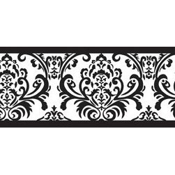 Sweet Jojo Designs - Isabella Black and White Wall Paper Border by Sweet Jojo Designs - The Isabella Black and White Wall Paper Border by Sweet Jojo Designs, along with the bedding accessories.