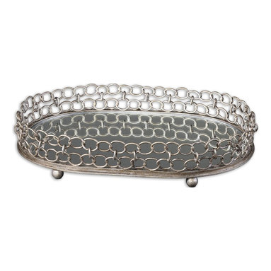 Uttermost - Lieven Mirrored Decorative Tray - A decorative mirrored tray, big enough to hold a collection of prized possessions or pieces of art, is a lovely gift item or treat for yourself. The antiqued reflective tray with silver champagne metal details will look fine featured as a table centerpiece or in full service in your stylish entryway.