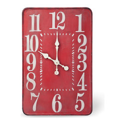 The Hours Are Long Wall Clock - The days are hot and the hours are long, until evening hits. At over 28 inches, our wall clock makes the hours literally long enough to enjoy, no matter what time of day it is. You'll also love the pop of the deep, ruby red painted metal with weathered, vintage look on your wall.