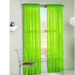 Sheer Voile Curtains, Lime Green - OK, these curtains could be a risky addition, but imagine large gray polka dots added to them or tying them back with neon tiebacks — there's potential there.