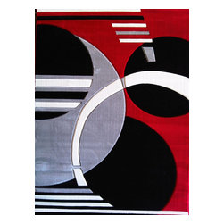 Rug - 3-PC-SET Red Machine Made Geometric Living Room Area Rugs - GEO COLLECTION