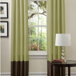 Lush Decor - Lush Decor Prima Green/ Chocolate Curtain Panels (Set of 2) - Showcasing a green and chocolate color scheme,these Prima faux silk window panels feature a stylish,simple block design. The top loop design allows these curtains to slide effortlessly onto the rod and will help cut down on energy costs.