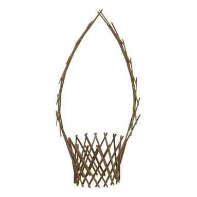 """Master Garden Products - Willow Floral Hanger, 12""""W x 48""""H - Classic willow floral pot will make a great garden decoration or can be used as a floral pot holder. Made of peeled carbonized willow sticks, it is light mahogany in color. Natural wood finished."""