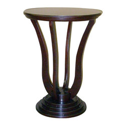 ORE International - Art Deco Style Accent Table in Cherry Finish - Round accent table. 4-Layered pedestal base. Curved pedestal base. Made from wood composite. Wood veneered finish. Minimal assembly required. 19.5 in. W x 19.5 in. D x 26.5 in. H (20 lbs.)Add style to any room with this contemporary accent table. Shapely and modern with accent table will be an inspired addition to your home's decor. This table will be a timeless way to enhance any interior design.