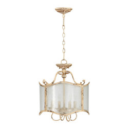 "Kathy Kuo Home - Maison French Country Antique White  4 Light Glass Chandelier - The Maison Chandelier brings the French countryside to every room.  Constructed from wrought iron finished in a proprietary ""Persian White"" finish add antiqued elegance to this eight light chandelier.  Sophistication meets country classic at its best."