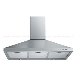 "Spagna Vetro - SPAGNA VETRO 36; SV198F-36 Wall-Mounted Stainless Steel Range Hood - Mounting version - Wall Mounted 860 CFM centrifugal blower Three-speed mechanical, soft-touch push button control panel Two 35W halogen lights (Type: GU-10) Aluminum multi-layers micro-cell dishwasher-friendly grease filter(s) Machine crafted stainless steel (brushed finish) 6"" round duct vent exhaust and back draft damper Convertible to duct-free operation (requires optional charcoal filter) Telescopic flue accommodates 8ft to 9ft ceilings (optional flue extension available for up to 10ft ceiling) Full Seamless Stainless Steel For residential use only, one-year limited factory warranty"