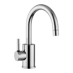 WS Bath Collections - Evo Single Lever Bathroom Faucet - Evo by WS Bath Collections, Single Lever Cold Water Mixer with High Swivel Spout, Without Pop-up Waste, Available in Polished Chrome, Mat Chrome or Stainless Steel, Made of Solid Brass Base, Without Pop-up Waste Single Lever Controls Flow Rate and Temperature High Swiveling Spout Includes Ceramic Disk Valves, Made in Italy