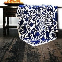 indigo obsessed - indigo embroidered mexican coverlet, $345