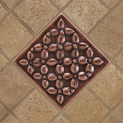 """4"""" Solid Copper Wall Tile with Thatched Flower Design - Antique Copper Patina - Customize your tiles by adding the charming Solid Copper Wall Tile with Thatched Flower Design to a wall or backsplash."""