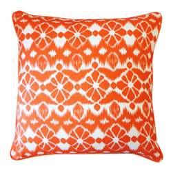 JITI - Trevol Orange - 20x20 Trevol Orange Pillow. 100% Cotton. Invisible Zipper. Dry Clean Only. Insert is 95% feathers and 5% down.