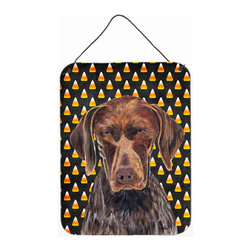 Caroline's Treasures - German Shorthaired Pointer Candy Corn Halloween  Aluminium Metal Wall Print - Great for inside or outside these Aluminum prints will add a special touch to your kitchen, bath, front door, outdoor patio or any special place.  12 inches by 16 inches and full of color.  This item will take direct sun for a while before it starts to fade.  Rust and Fade resistant.  Aluminum Print with Hanging Rope.  Rounded Corners.