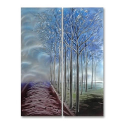 Pure Art - Forest Visitor Handmade Aluminum Wall Art Decoration Set of 2 - There's nothing quite like a walk through the forest to soothe the senses and calm the spirit! Such is the thoughts behind the Forest Visitor Handmade Aluminum Wall Art Decoration Set of 2.  This two piece grouping of metal wall art makes you feel like you are walking through a tranquil forest, with silvery trees flowing in the wind all around you.  This slightly abstract piece is a definite must-have for your home or office decor, and can be beautiful in a number of settings.  Handpainted metal wall hanging is crafted from premium aluminum for long lasting good looksMade with top grade aluminum material and handcrafted with the use of special colors, it is a very appealing piece that sticks out with its genuine glow. Easy to hang and clean.