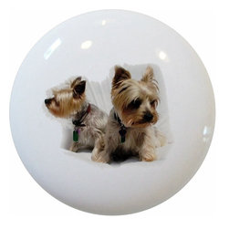 Carolina Hardware and Decor, LLC - Terrier Pups Ceramic Cabinet Drawer Knob - New 1 1/2 inch ceramic cabinet, drawer, or furniture knob with mounting hardware included. Also works great in a bathroom or on bi-fold closet doors (may require longer screws).  Item can be wiped clean with a soft damp cloth.  Great addition and nice finishing touch to any room.