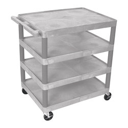 Luxor - Luxor Transport Cart - BC40-G - Luxor's BC's series utility carts are multi-tiered, lightweight carts made for every type of environment. It is constructed from high density polyethylene structural foam molded plastic shelves.