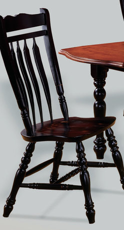 Sunset Trading - Eco-Friendly Aspen Chair - Traditional classic beauty and aspen style. Sturdy quality craftsmanship. Large contoured backrest and seating area to provide ideal seating solution. Perfectly carved and steel reinforced turned legs. Curved, comfort back and scooped seat. Warranty: One year. Made from Malaysian oak. Antique black finish. Made in Malaysia. No assembly required. 21.5 in. W x 20.5 in. D x 42 in. H (20 lbs.)This beautifully designed dining chair supplied by Sunset Trading will assure you many years of use and enjoyment. Complete your dining decor with the country charm of timeless casual dining chairs from the Sunset Trading - Sunset Selections Collection. Offering , yet always dependably functional, your family and friends will enjoy the seating comfort of these inviting relaxed dining chairs for years to come! Pair with your choice of coordinating Sunset Selections dining tables to bring a touch of country warmth with traditional and classic American style to your home!
