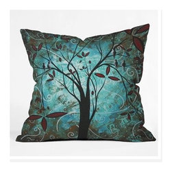 """DENY Designs - Madart Inc. Romantic Evening Throw Pillow - Wanna transform a serious room into a fun, inviting space? Looking to complete a room full of solids with a unique print? Need to add a pop of color to your dull, lackluster space? Accomplish all of the above with one simple, yet powerful home accessory we like to call the DENY Throw Pillow! Features: -Madart Inc collection. -Material: Woven polyester. -Sealed closure. -Spot treatment with mild detergent. -Top and back color: Print. -Made in the USA. -Closure: Concealed zipper with bun insert. -Small dimensions: 16"""" H x 16"""" W x 4"""" D, 3 lbs. -Medium dimensions: 18"""" H x 18"""" W x 5"""" D, 3 lbs. -Large dimensions: 20"""" H x 20"""" W x 6"""" D, 3 lbs."""