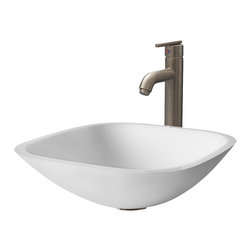 Vigo - VGT207 Square Shaped White Vessel Sink with Brushed Nickel Faucet - The VIGO Square Shaped White Phoenix Stone Glass Vessel Sink with a Modern Brushed Nickel Faucet brings a contemporary look to your home