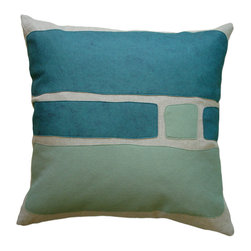 Balanced Design - Felt Appliqué Linen Pillow - Big Block, Brook/Loden, 22x22 - Color-blocking is a great way to introduce bold shots of color to your home. The soft and colorful felt appliqué is a perfect match for the natural linen pillow, and you can feel great that it was made in the USA. The insert is even made of fiber from recycled plastic bottles. It's stylish and ecofriendly. What's better than that?