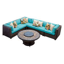 TKC - Rustico 7 Piece Outdoor Wicker Patio Furniture Set 07e 2 for 1 Cover Set - Features: