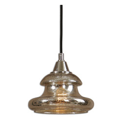 Uttermost - Arborea Glass Mini Pendant - Diffuse the situation with this gorgeous mini pendant. Flecked mercury glass allows the light to softly filter through, casting it about in randomly. It'll add warmth to your entryway, but also looks fabulous hung in multiples over a kitchen counter or bar.
