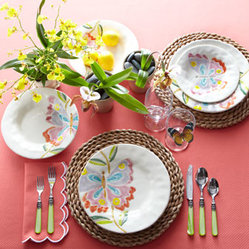 "Horchow - ""Butterfly"" Dinnerware - Exclusively ours. Perfect for casual dining, garden parties, and the like, each piece of this enchanting dinnerware features a delicate butterfly rendered in jewel-tone pastels. Handcrafted of earthenware. Hand painted. Dishwasher safe. Sold in se..."
