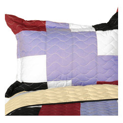 Blancho Bedding - [Wind Castle] 3PC Vermicelli-Quilted Patchwork Quilt Set (Full/Queen Size) - The [Wind Castle] 100% TC Fabric 3PC Vermicelli-Quilted Patchwork Quilt Set (Full/Queen Size) includes a quilt and two quilted shams. This pretty quilt set is handmade and some quilting may be slightly curved. The pretty handmade quilt set make a stunning and warm gift for you and a loved one! For convenience, all bedding components are machine washable on cold in the gentle cycle and can be dried on low heat and will last for years. Intricate vermicelli quilting provides a rich surface texture. This vermicelli-quilted quilt set will refresh your bedroom decor instantly, create a cozy and inviting atmosphere and is sure to transform the look of your bedroom or guest room. (Dimensions: Full/Queen quilt: 90.5 inches x 90.5 inches; Standard sham: 24 inches x 33.8 inches)