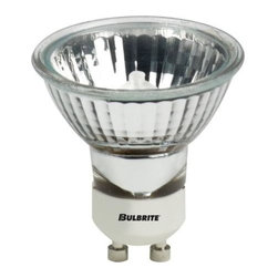 Bulbrite - Halogen Specialty MR16 Lensed Flood Bulbs in Clear - 10 Bulbs - One pack of 10 bulbs. 120V GU10 base bulb. Double ended recessed single contact. Ideal for residential and commercial applications. Most commonly used in landscape, pendants, down light, recessed and track lighting. Dimmable. Average hours: 2000. Color rendering index: 100. Color temperature: 3000K. Wattage: 35 watt. Lumens: 1320CP. 38 degrees beam spread. . Maximum overall length: 2.25 in.