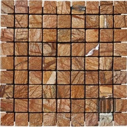 Cafe Rain Forest Tumbled Pattern Mesh-Mounted Marble Tiles - 1 in. x 1 in. Cafe Rain Forest Mesh-Mounted Square Pattern Marble Mosaic Tile is a great way to enhance your decor with a traditional aesthetic touch. This tumbled mosaic tile is constructed from durable, impervious marble material, comes in a smooth, unglazed finish and is suitable for installation on floors, walls and countertops in commercial and residential spaces such as bathrooms and kitchens.