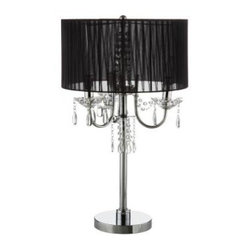 Black Bedside Lamps: 27.5 in. Chrome Table Lamp with Black Shade 40OK-5111T