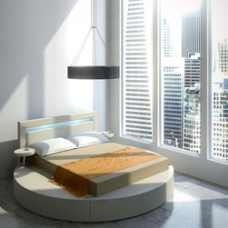 Exclusive Leather Modern Contemporary Bedroom Designs feat. Light - Perfect example of form and function high quality round bedroom. A White Leatherette Platform Bed finished in spectacular round shape.