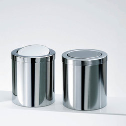 Modo Bath - Harmony Stainless Steel Waste Basket with Revolving Cover - Harmony 213 Waste Basket with Revolving Cover in Polished Stainless Steel, Available In Polished Stainless Steel or Mat Stainless Steel, Includes Revolving Cover, Made in Germany