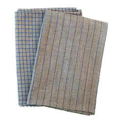 Blue Lined Hand Towels - Are your terry cloth hand towels looking a little tired? Treat your hands to these  naturally soft and naturally good looking 100% linen hand towels. They'll look great hanging in any bathroom or kitchen. Comes in a pair.