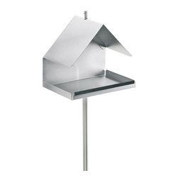 Blomus - Nido Stainless Steel House Bird Feeder - Comes with steak and suspension hanger. House style. Made of stainless steel. Designed by Susanne Augenstein. 1-Year manufacturer's defect warranty. 7.11 in. L x 4.94 in. W x 59.84 in. H. Tall: 3.75 in. Dia. x 15.41 in. H