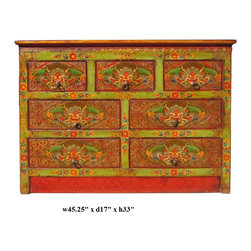 Tibetan Dragon Head Graphic 7 Drawers Cabinet - This is a decorative Tibetan accent cabinet with seven drawers which are painted with colorful Tibetan style dragon head graphic. The main color is lime green and orange.