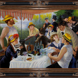"overstockArt.com - Renoir - Luncheon of the Boating Party - 30"" X 40"" Oil Painting On Canvas Handmade oil painting of a famous Renoir painting , Luncheon of the Boating Party . The original masterpiece was created in 1880-1881. Today it has been carefully recreated detail-by-detail, color-by-color to near perfection. The painting depicts a group of Renoir's friends relaxing on a balcony along the Seine River. Renoir's future wife is the one playing with the small dog. In this painting Renoir has captured the joy of the middle class of late 19 century France, it is a lively painting that brings happiness and excitement to any room. This work of art has the same emotions and beauty as the original. Why not grace your home with this reproduced masterpiece? It is sure to bring many admirers!"