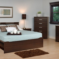 Prepac Furniture - Prepac Coal Harbor 4 PC Double Size Bedroom Set in Espresso (Bed, Two Nightstand - The design of the Coal Harbor 4 Pcs Double Size Platform Bedroom Set with Headboard in Espresso (Bed, Two Nightstands and Dresser) - Prepac Furniture is both contemporary and functional. The integrated headboard is a smart and cost effective alternative to purchasing a bed and headboard separately. Wooden slats provide ample mattress support and the mattress fits snuggly into a 3 in. deep recess in the bed frame. The simple clean lines and gentle curves ensure that this set will be an ideal addition to any decor.    Bedroom Set includes Double Size Bed with Headboard, two Nightstands and Dresser.  Chest could be added to complete the set.    Features: