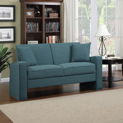 PORTFOLIO - Portfolio Aviva Caribbean Blue Linen Sofa - Inject style into your home with this striking transitional linen sofa. This piece features a glorious Caribbean-blue color that enhances any environment, and the two-seat design makes it ideal for smaller spaces. Plush foam filling ensures comfort.